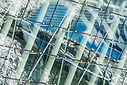The Wave reflected in local Architecture on day one of the Extreme Sailing Series regatta being sailed in Singapore. 20/2/2014