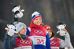 February 12, 2018 - Pyeongchang, SOUTH KOREA - 180212 Katharina Althaus of Germany, Maren Lundby of Norway and Sara Takanashi of Japan at a flower ceremony after competing in Ski Jumping, Women's Normal Hill Individual Final, during day three of the 2018 Winter Olympics on February 12, 2018 in Pyeongchang..Photo: Joel Marklund / BILDBYRN / kod JM / 87619 (Credit Image: © Joel Marklund/Bildbyran via ZUMA Press)