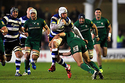 Dave Attwood of Bath Rugby takes on the London Irish defence - Photo mandatory by-line: Patrick Khachfe/JMP - Mobile: 07966 386802 24/04/2015 - SPORT - RUGBY UNION - Bath - The Recreation Ground - Bath Rugby v London Irish - Aviva Premiership