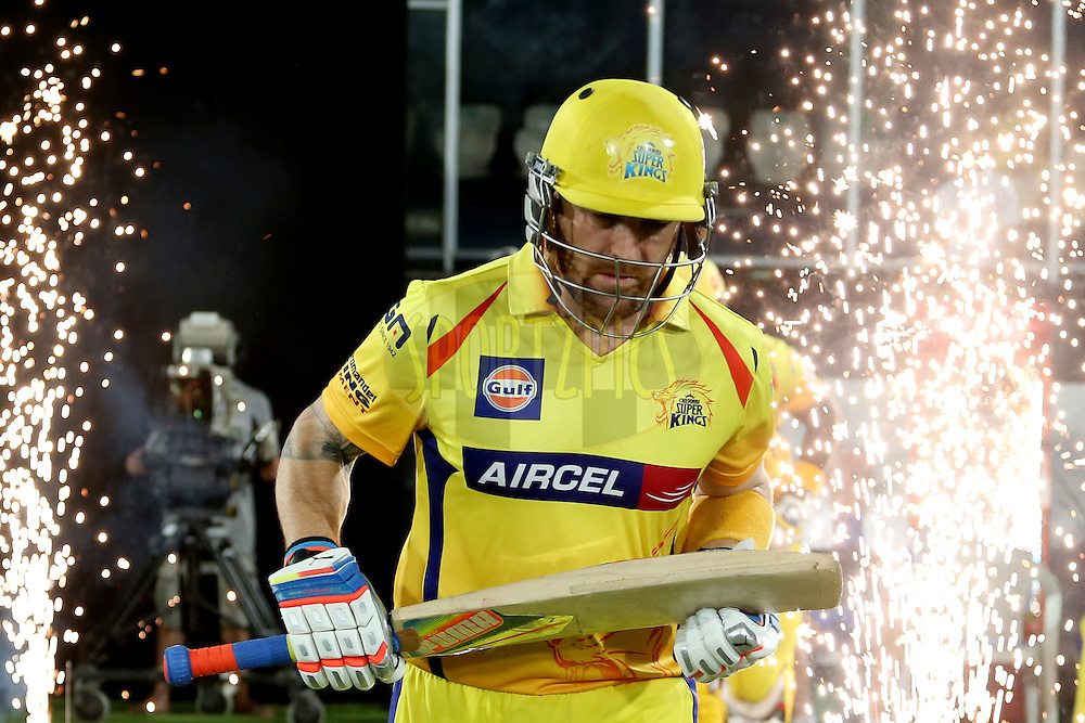 Opening batsman Brendan McCullum running out onto the field during the second semi final match of the Oppo Champions League Twenty20 between the Kings XI Punjab and the Chennai Super Kings held at the Rajiv Gandhi Cricket Stadium, Hyderabad, India on the 2nd October 2014. Photo by:  Jacques Rossouw / Sportzpics/ CLT20<br /> <br /> <br /> Image use is subject to the terms and conditions as laid out by the BCCI/ CLT20.  The terms and conditions can be downloaded here:<br /> <br /> http://sportzpics.photoshelter.com/gallery/CLT20-Image-Terms-and-Conditions-2014/G0000IfNJn535VPU/C0000QhhKadWcjYs