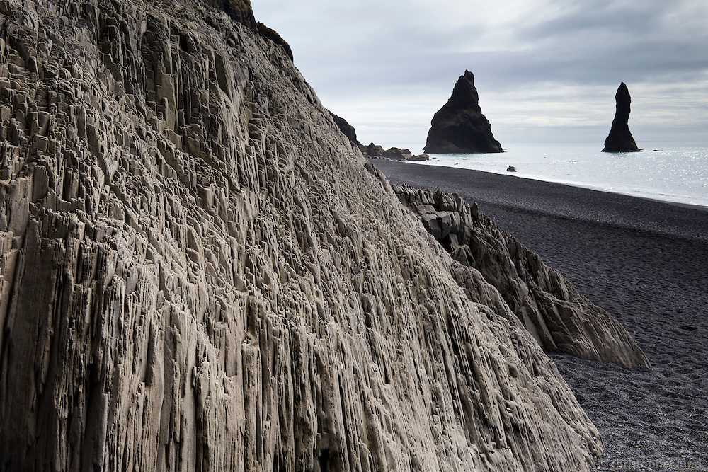 Reynisfjara black sand beach, south shore Iceland. Reynisdrangar Sea stacks in background.