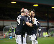 Dundee&rsquo;s Kane Hemmings and Gary Harkins celebrate after the Dens captain had sealed the Dark Blues place in the fifth round of the cup  - Dundee v Falkirk, William Hill Scottish Cup Fourth Round at Dens Park <br /> <br />  - &copy; David Young - www.davidyoungphoto.co.uk - email: davidyoungphoto@gmail.com