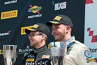 Jordan Stilp (GBR) / William Phillips (GBR)  #45 RCIB Insurance Racing  Ginetta G55 GT3  Ford Cyclone 3.7L V6 on the podium in third place in GT4 class of race one for the British GT Championship at Oulton Park, Little Budworth, Cheshire, United Kingdom. May 30 2016. World Copyright Peter Taylor/PSP.