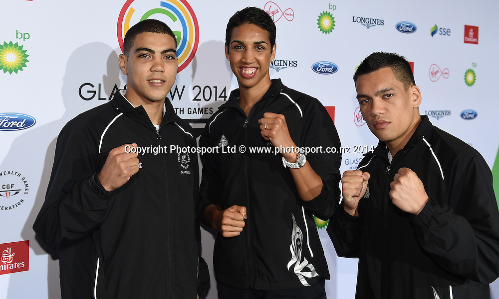 Leroy Hindley, Alexis Pritchard and Chad Milnes during a Boxing press conference at the Main Press Centre. Glasgow Commonwealth Games 2014. Scotland. Wednesday 23 July 2014. Photo: Andrew Cornaga/www.Photosport.co.nz