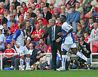 Photo: Andrew Unwin.<br />Middlesbrough v Blackburn Rovers. The Barclays Premiership. 23/09/2006.<br />Blackburn's Shabandi Nonda (R) celebrates his goal while his manager, Mark Hughes (C), gives more directions.