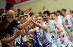 Klemen Prepelic of Slovenia, Marko Pajic of Slovenia celebrate after the basketball match between National teams of Slovenia and Lithuania in First Round of U20 Men European Championship Slovenia 2012, on July 14, 2012 in Domzale, Slovenia. Slovenia defeated Lithuania 87-81. (Photo by Vid Ponikvar / Sportida.com)