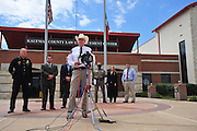 Kaufman County Sheriff David Byrnes speaks during a press conference outside the Kaufman County Law Enforcement Center following the shooting of Kaufman County DA Mike McLelland and his wife Cynthia Sunday, March 31, 2013. (Cooper Neill/The Dallas Morning News)