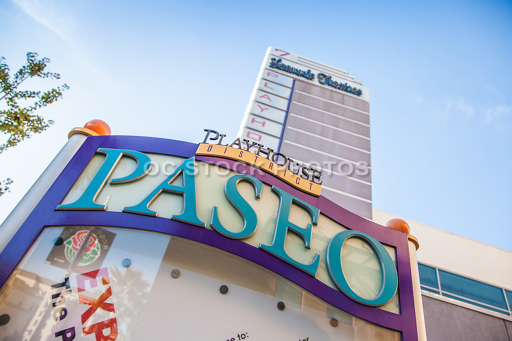 Paseo Playhouse District and Laemmle Theaters 7 on Colorado Boulevard in Pasadena