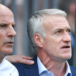 Guy Stephan and Didier Deschamps coach of France during the FIFA World Cup Group C match between Denmark and France at Luzhniki Stadium on June 26, 2018 in Moscow, Russia. (Photo by Anthony Dibon/Icon Sport)
