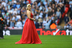 Natalie Coyle sings the National Anthem - Photo mandatory by-line: Jason Brown/JMP -  02/04//2017 - SPORT - Football - London - Wembley Stadium - Coventry City v Oxford United - Checkatrade Trophy Final