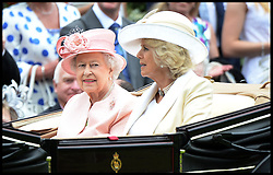 HM The Queen and The Duchess of Cornwall at the Opening day of Royal Ascot 2013 Ascot, United Kingdom<br /> Tuesday, 18th June 2013,<br /> Picture by Andrew Parsons / i-Images