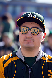 A's supporter Jeremy Koo of Sacramento shows his team colors during Oakland Athletics FanFest at Jack London Square on Saturday, Jan. 27, 2018 in Oakland, Calif. (D. Ross Cameron/SF Chronicle)