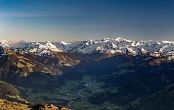 THEMENBILD - Im Tal der kleine Tiroler Ort Jochberg mit dem Bergpanorama der Hohe Tauern im Hintergrund, aufgenommen am 17. Mai 2017, Kitzbühler Horn, Österreich // In the valley the small Tyrolean village Jochberg with the mountain panorama of the Hohe Tauern in the background at Kitzbühler Horn, Austria on 2017/05/17. EXPA Pictures © 2017, PhotoCredit: EXPA/ Stefan Adelsberger