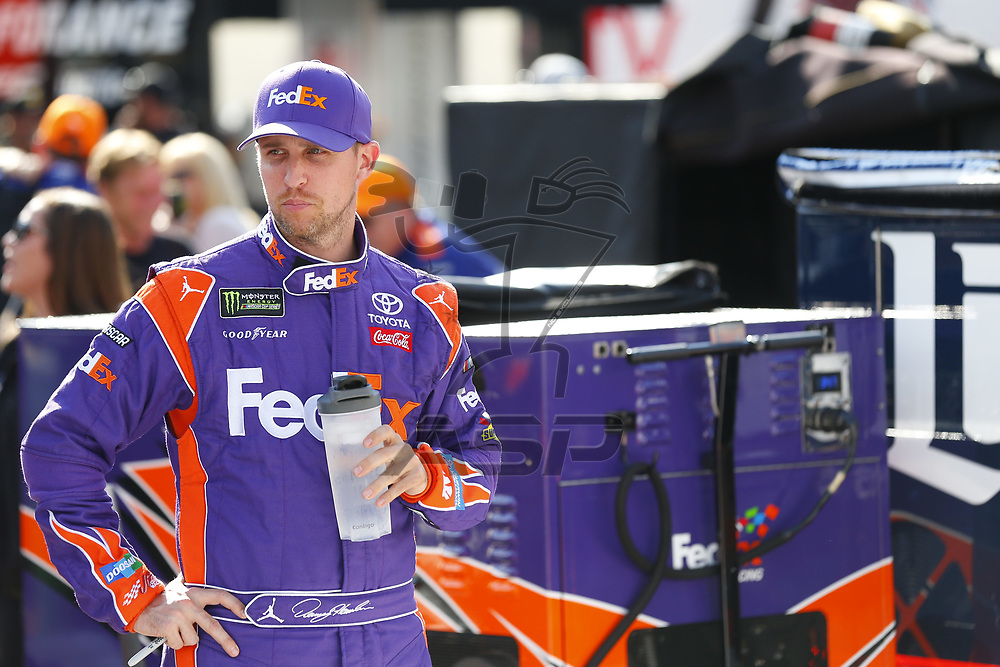 August 18, 2017 - Bristol, Tennessee, USA: Denny Hamlin (11) hangs out on pit road prior to qualifying for the Bass Pro Shops NRA Night Race at Bristol Motor Speedway in Bristol, Tennessee.