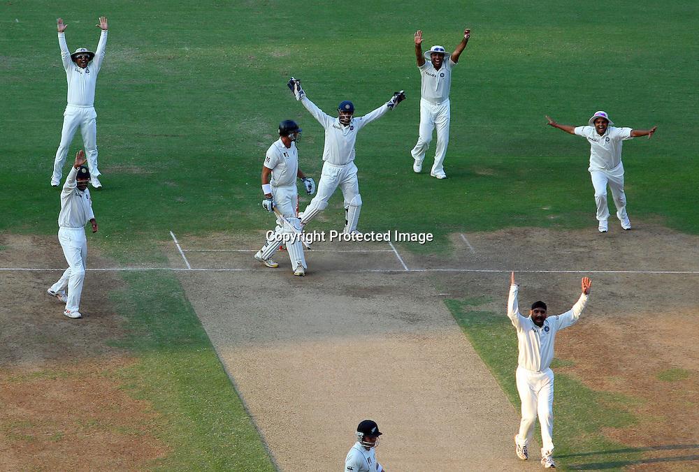 Indian bowler Harbhajan Singh and team mates celebrates New Zealand batsman Tim McIntosh wicket during the 3rd test match India vs New Zealand day-3 Played at Vidarbha Cricket Association Stadium, Jamtha, Nagpur, 22, November 2010 (5-day match)
