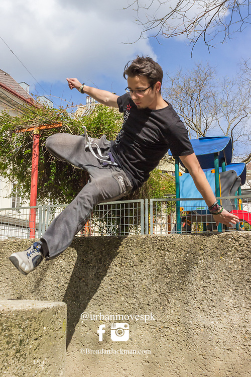 Parkour and Freerunning at Andreaspark, Vienna, Austria.