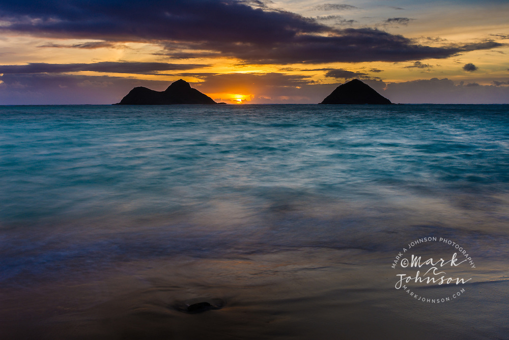 Sunrise between the Mokulua Islands, Lanikai, Oahu, Hawaii