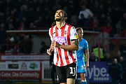 Randell Williams (11) of Exeter City reacts after shooting at goal during the EFL Sky Bet League 2 match between Exeter City and Cheltenham Town at St James' Park, Exeter, England on 16 November 2019.