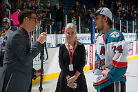 KELOWNA, CANADA - MAY 13: Kevin Parnell, Britt Prendegast and Tyson Baillie #24 of Kelowna Rockets on May 13, 2015 during game 4 of the WHL final series at Prospera Place in Kelowna, British Columbia, Canada.  (Photo by Marissa Baecker/Shoot the Breeze)  *** Local Caption ***