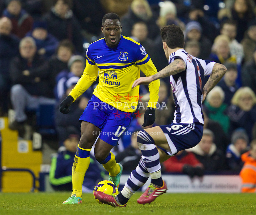 WEST BROMWICH, ENGLAND - Monday, January 20, 2014: Everton's Romelu Lukaku in action against West Bromwich Albion during the Premiership match at the Hawthorns. (Pic by David Rawcliffe/Propaganda)
