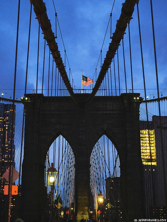 The Brooklyn Bridge at dusk, New York City, NY