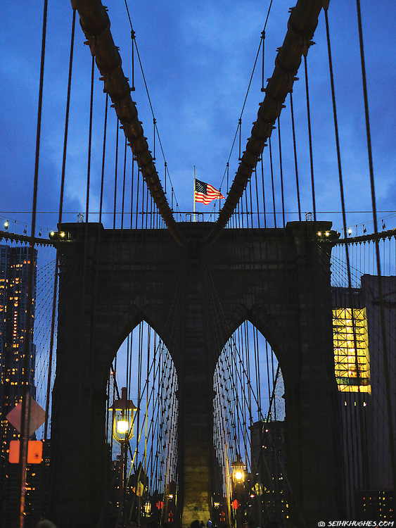 The Brooklyn Bridge at dusk, New York City, NY
