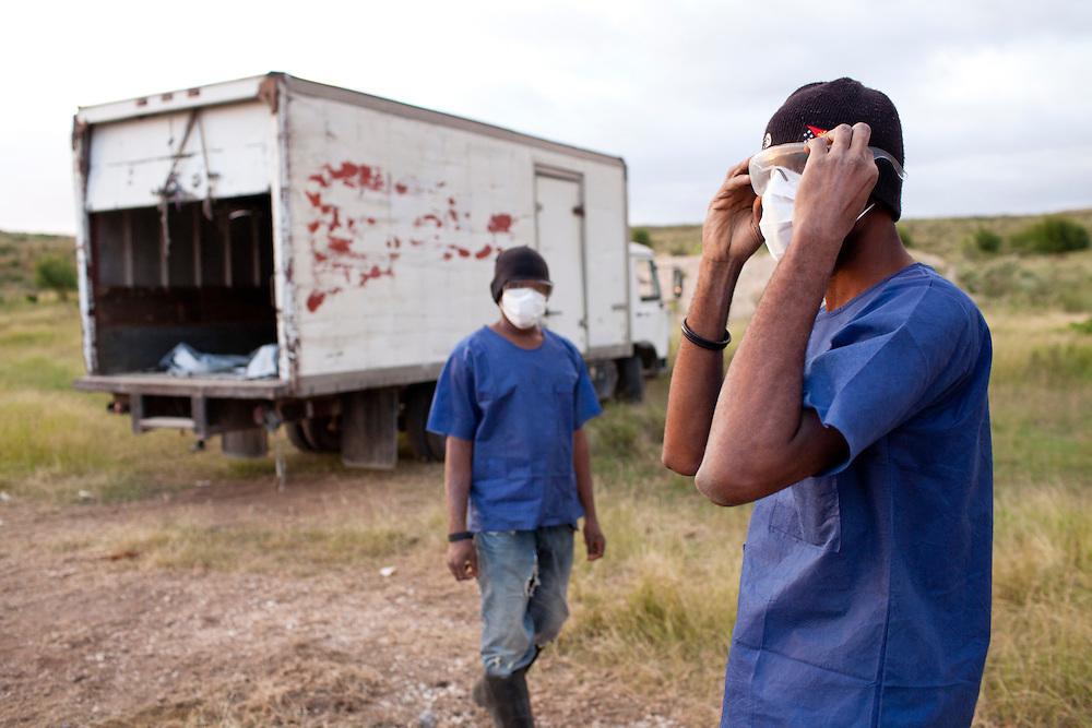 Men put the bodies of cholera victims into a mass grave on Wednesday, November 24, 2010 near Port-au-Prince, Haiti.