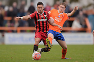 George Baldock of Oxford United does battle with Taylor Miles of Braintree Town during the FA Cup match between Braintree Town and Oxford United at the Avanti Stadium, Braintree<br /> Picture by Richard Blaxall/Focus Images Ltd +44 7853 364624<br /> 08/11/2015