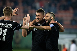 Players of Mura celebrating goal during football match between NŠ Mura and ND Gorica in 34nd Round of Prva liga Telekom Slovenije 2018/19, on May 18, 2019 in Fazanerija, Murska Sobota, Slovenia. Photo by Blaž Weindorfer / Sportida