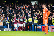 West Ham  (17) Javier Hernández, celebrates after scoring goal during the Premier League match between Chelsea and West Ham United at Stamford Bridge, London, England on 8 April 2018. Picture by Sebastian Frej.
