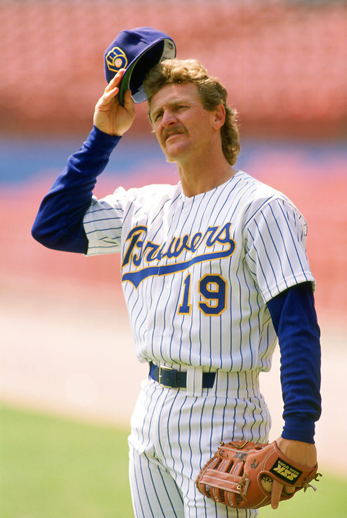 MILWAUKEE - 1989:  Robin Yount of the Milwaukee Brewers looks on during an MLB game at County Stadium in Milwaukee, Wisconsin during the 1989 season. (Photo by Ron Vesely).  Subject:   Robin Yount