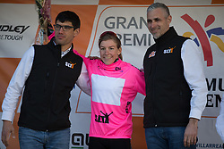 Belle de Gast of Parkhotel Valkenburg - Destil Cycling Team celebrates retaining the best sprinter's nuclear pink jersey after Stage 3 of the Setmana Ciclista Valenciana - a 137 km road race, between Sagunt and Valencia on February 24, 2018, in Valencia, Spain. (Photo by Balint Hamvas/Velofocus.com)