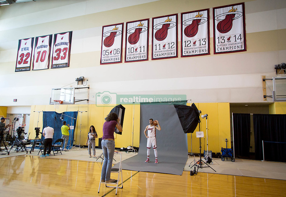 September 25, 2017 - Miami, Florida, U.S. - Miami Heat guard Goran Dragic (7) at Media Day at AmericanAirlines Arena in Miami, Florida on September 25, 2017. (Credit Image: © Allen Eyestone/The Palm Beach Post via ZUMA Wire)