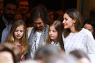 Crown Princess Leonor, Princess Sofia, Queen Letizia of Spain, Queen Sofia of Spain are seen after going to see the 'Billy Elliot' theatre play on May 19, 2018 in Madrid, Spain