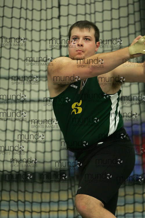 (Windsor, Ontario---12 March 2010) Mathieu Dumont of Universite de Sherbrooke   competes in the  at the 2010 Canadian Interuniversity Sport Track and Field Championships at the St. Denis Center. Photograph copyright Sean Burges/Mundo Sport Images. www.mundosportimages.com
