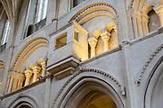 Watching loft raised stone viewing box inside Malmesbury abbey church, Wiltshire, England, UK