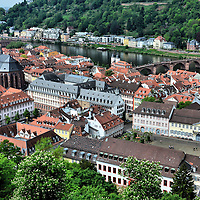 Elevated View of Old Town in Heidelberg, Germany <br />
