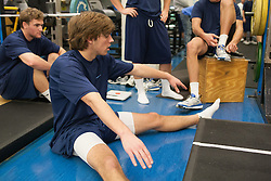 27 November 2007: North Carolina Tar Heels men's lacrosse Billy Bitter during a weight lifting session in Chapel Hill, NC.