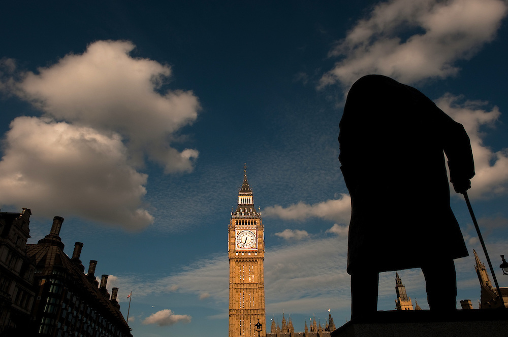 Statue of Winston Churchill with Big Ben in the background, Westminster, London, UK.