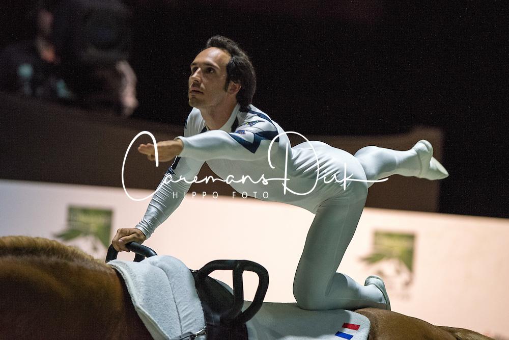 Nicolas Andreani, (FRA), Just A Kiss HN, Marina Joosten Dupon - Individuals Men Compulsory Vaulting - Alltech FEI World Equestrian Games™ 2014 - Normandy, France.<br /> © Hippo Foto Team - Jon Stroud<br /> 02/09/2014