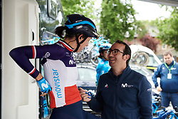 Pre-race chat in the Movistar Women's Team camp at Stage 3 of 2019 OVO Women's Tour, a 145.1 km road race from Henley-on-Thames to Blenheim Palace, United Kingdom on June 12, 2019. Photo by Sean Robinson/velofocus.com