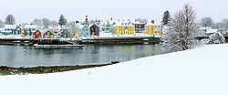 Snow drapes the South End of Portsmouth, New Hampshire. As seen from Pierce Island.