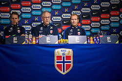 October 12, 2018 - Oslo, NORWAY - 181012 Stefan Johansen of Norway, Lars LagerbÅ ck, head coach of Norway, and Svein Graff, communications director of the Norwegian Football Association (NFF), during a press event on October 12, 2018 in Oslo..Photo: Jon Olav Nesvold / BILDBYRN / kod JE / 160328 (Credit Image: © Jon Olav Nesvold/Bildbyran via ZUMA Press)