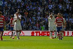 05.04.2015, Estadio Santiago Bernabeu, Madrid, ESP, Primera Division, Real Madrid vs FC Granada, 29. Runde, im Bild Real Madrid&acute;s players thanks the supporters // during the Spanish Primera Division 29th round match between Real Madrid CF and Granada FC at the Estadio Santiago Bernabeu in Madrid, Spain on 2015/04/05. EXPA Pictures &copy; 2015, PhotoCredit: EXPA/ Alterphotos/ Luis Fernandez<br /> <br /> *****ATTENTION - OUT of ESP, SUI*****