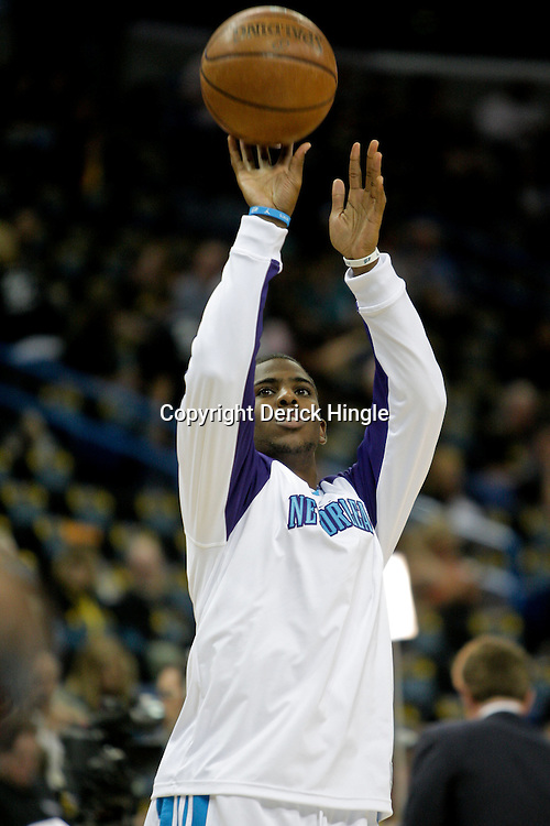 Oct 30, 2009; New Orleans, LA, USA; New Orleans Hornets guard Chris Paul during shoot around prior to tip off against the Sacramento Kings at the New Orleans Arena. The Hornets defeated the Kings 97-92. Mandatory Credit: Derick E. Hingle-US PRESSWIRE