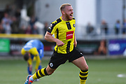 George Thomson of Harrogate Town (7) scores a goal and celebrates to make the score 2-1 during the Vanarama National League match between Harrogate Town and Solihull Moors at Wetherby Road, Harrogate, United Kingdom on 25 August 2018.