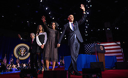 President Barack Obama is joined by Michelle and Malia after his farewell address at McCormick Place in Chicago, IL, USA, on Tuesday, January 10, 2017. Photo by Zbigniew Bzdak/Chicago Tribune/TNS/ABACAPRESS.COM