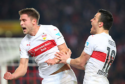 30.12.2015, Mercedes Benz Arena, Stuttgart, GER, 1. FBL, VfB Stuttgart vs Hamburger SV, 19. Runde, im Bild Artem Kravets (VfB Stuttgart) Filip Kostic (VfB Stuttgart) Jubeln nach dem 1:0 // during the German Bundesliga 19th round match between VfB Stuttgart and Hamburger SV at the Mercedes Benz Arena in Stuttgart, Germany on 2015/12/30. EXPA Pictures © 2016, PhotoCredit: EXPA/ Eibner-Pressefoto/ Langer<br /> <br /> *****ATTENTION - OUT of GER*****