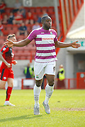 Barnet FC Striker John Akinde (9) celebrates his goal during the Sky Bet League 2 match between Crawley Town and Barnet at the Checkatrade.com Stadium, Crawley, England on 7 May 2016. Photo by Andy Walter.