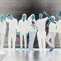Die Gruppe Fehlfarben unmittelbar vor ihrem Auftritt in der Berliner Volksbuehne am 23. Juni 2017.